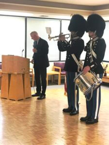 Danish Royal Guards performing in Seattle with trumpet and drums