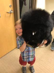 Danish Royal Guard Bearskin hat and child